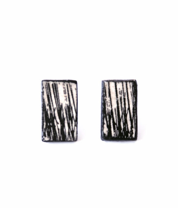 Black & White - Handmade paper earrings - Lokta Art